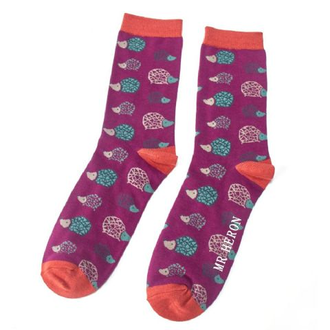 MENS HEDGEHOG SOCKS PURPLE
